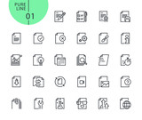 Set of icons for file and document editing and formatting . Modern outline web icons collection for web and app design and development. Premium quality vector illustration of thin line web symbols. - 175850205