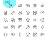 Set of icons for contact, support and location. Modern outline web icons collection for web and app design and development. Premium quality vector illustration of thin line web symbols. - 175850235