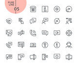 Set of icons for mobile service and communication. Modern outline web icons collection for web and app design and development. Premium quality vector illustration of thin line web symbols. - 175850247