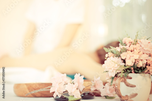 In de dag Spa Spa flower and objects with massage background