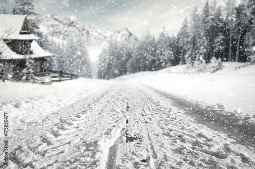 Poster Wit winter road