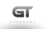 GT Black and White Horizontal Stripes Letter Logo.