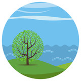 Vector cartoon landscape with the lonely tree against the seа in circle.   - 175853636