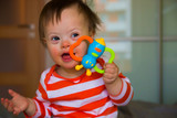 Portrait of cute baby boy with Down syndrome - 175855074