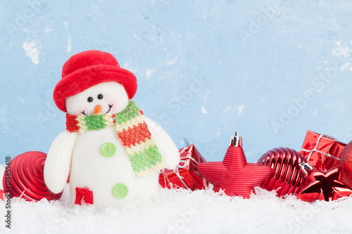 Christmas background with snowman and decor Poster
