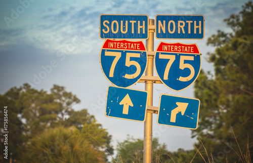 Directional signs along US Interstate I-75 in Florida Poster
