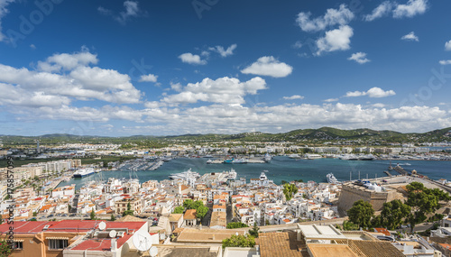 Eivissa port and old town buildings, Ibiza, Spain