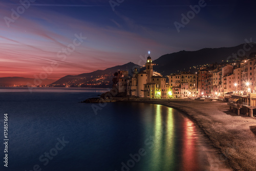 Beautiful Small Mediterranean City after sunset with colorful illumination - Camogli, Italy, European travel