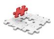 puzzle con pezzo rosso