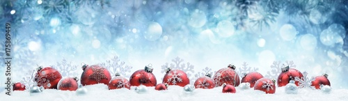 Christmas - Decorated Red Balls And Snowflakes On Snow