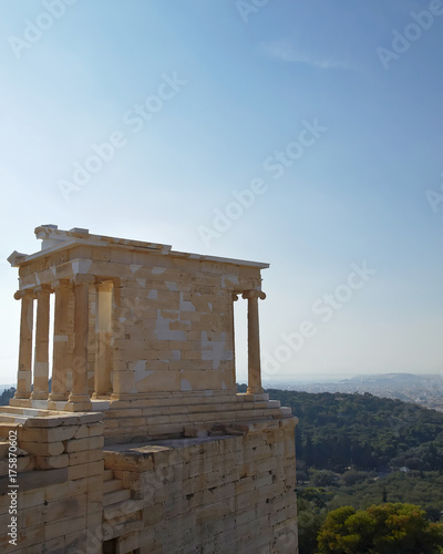Poster Athene Greece, temple of Athena nike on acropolis and Athens cityscape