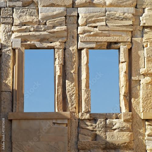 Papiers peints Athenes Athens Greece acropolis , windows on ancient wall