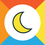 Lunar Colorful Outline Symbol. Premium Quality Isolated Moonbeam Element In Trendy Style. - 175875267