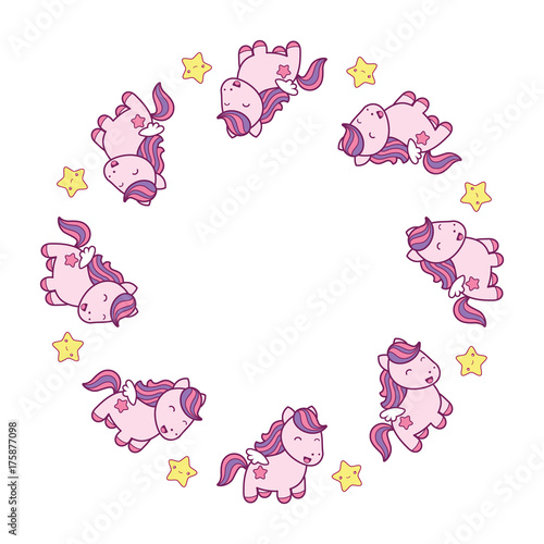 Round frame with cute kawaii style horses and stars. - 175877098