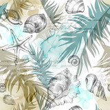 Summer Party holiday background, watercolor illustration. Seamless pattern with sea shells, molluscs and palm leaves. Tropical texture in romantic colors. - 175880024