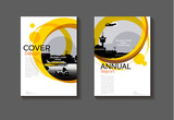 abstract Yellow  cover design modern book cover abstract Brochure cover  template,annual report, magazine and flyer layout Vector a4 - 175882404