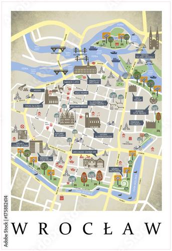 Plakat Plan miasta, mapa, makieta Wrocław - Polska
