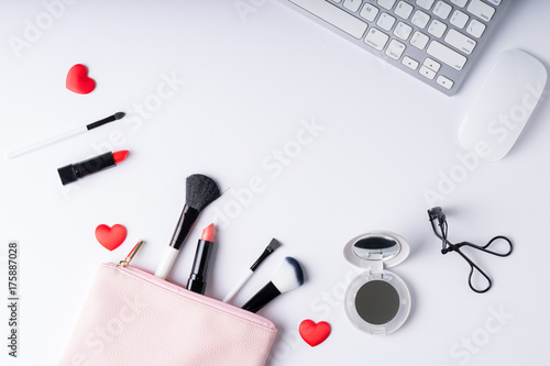 Set of Makeup cosmetics products with bag on top view Poster