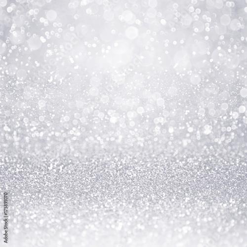 Streszczenie srebrny brokat skrzyć confetti tła na zimę śniegu, 25-lecie lub błyszczące zaproszenie na ślub lub urodziny