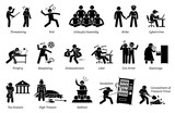 Crime and Criminal. Pictogram depicts various criminal activities that includes violent, unlawful assembly, riot, scam, sedition, libel, sedition, and vandalism.  - 175892000
