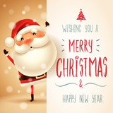 Santa Claus with big signboard. Merry Christmas calligraphy lettering design. Creative typography for holiday greeting. - 175892288