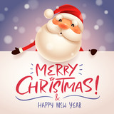 Santa Claus with big signboard. Merry Christmas calligraphy lettering design. Creative typography for holiday greeting. - 175892295
