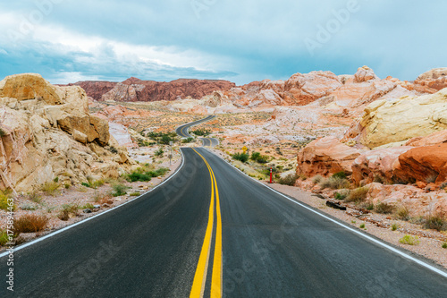 amazing desert road at valley of fire, nevada Poster
