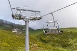 Cable car in the russian mountains - 175897061
