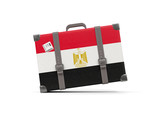 Luggage with flag of egypt. Suitcase isolated on white - 175897090