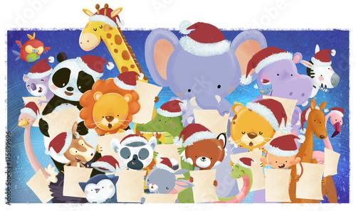 animales cantando en coro en navidad