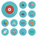Flat Icons Football, Sausage, Western And Other Vector Elements. Set Of Usa Flat Icons Symbols Also Includes Golden, Statue, Cowboy Objects. - 175904478