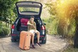 family travel with suitcases and car