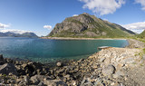 panorama on the coast of henningsvaer at Lofoten in Norway