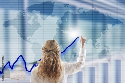 business woman with business interface Poster