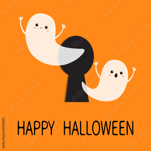 black keyhole flying ghost spirit set happy halloween two scary white ghosts key
