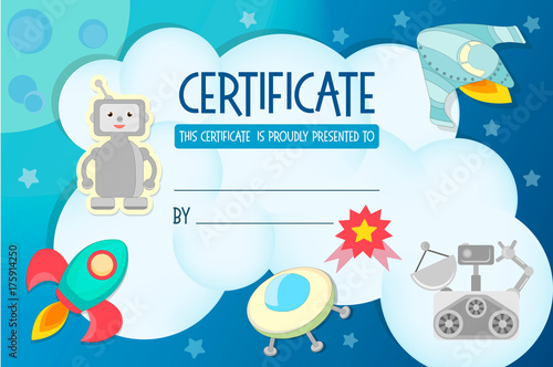 Diploma, the certificate of the teaching game on the theme of Cosmos illustration