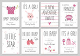 Baby shower invitations. Baby girl arrival and shower cards collection. Vector invitations with baby dress, bunny, heart, carriage, socks, pin, bottle. - 175917476