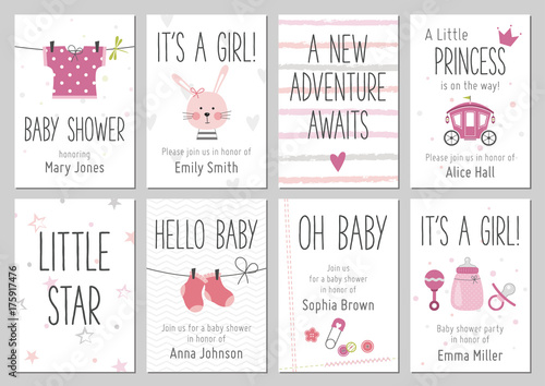 Baby shower invitations. Baby girl arrival and shower cards collection. Vector invitations with baby dress, bunny, heart, carriage, socks, pin, bottle.