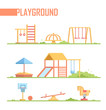 Set of playground elements - modern vector cartoon isolated illustration - 175919030