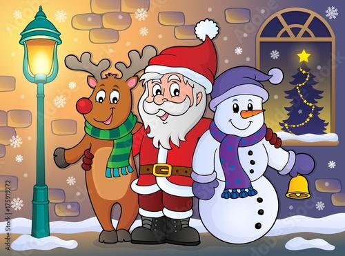 Deurstickers Voor kinderen Christmas characters on sidewalk theme 1