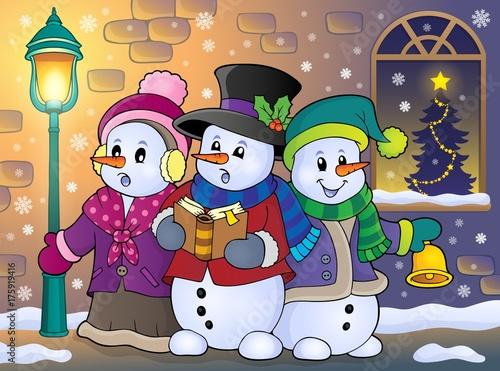 Deurstickers Voor kinderen Snowmen carol singers theme image 5