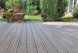 wooden terrace in garden - 175920087