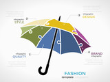 Fashion infographic template with umbrella symbol model made out of jigsaw pieces - 175920204