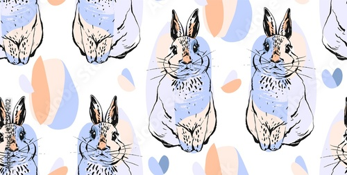 Hand drawn vector abstract collage drawing cute seamless pattern with realistic rabbits in pastel colors.Easter bunnies background.Cute trendy rabbit illustration.Easter greetings.Wrapping paper - 175924012