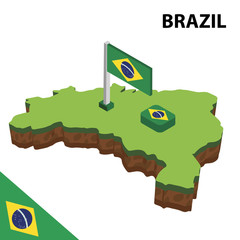 Isometric map and flag of brazil. 3D isometric Vector Illustration