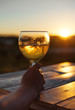 Woman drinking cooled white wine on the sunset.