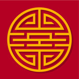 Chinese ornament. Oriental pattern. Yellow ornament on a red background. - 175926004