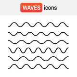 Wave line icon. Waves outline icon, modern minimal flat design style - 175926887