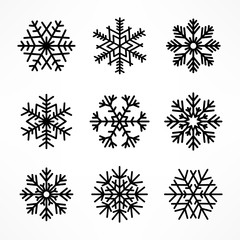 Set of Christmas snowflake isolated on white. Vector