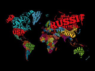 World Map in Typography word cloud, names of countries, education business concept